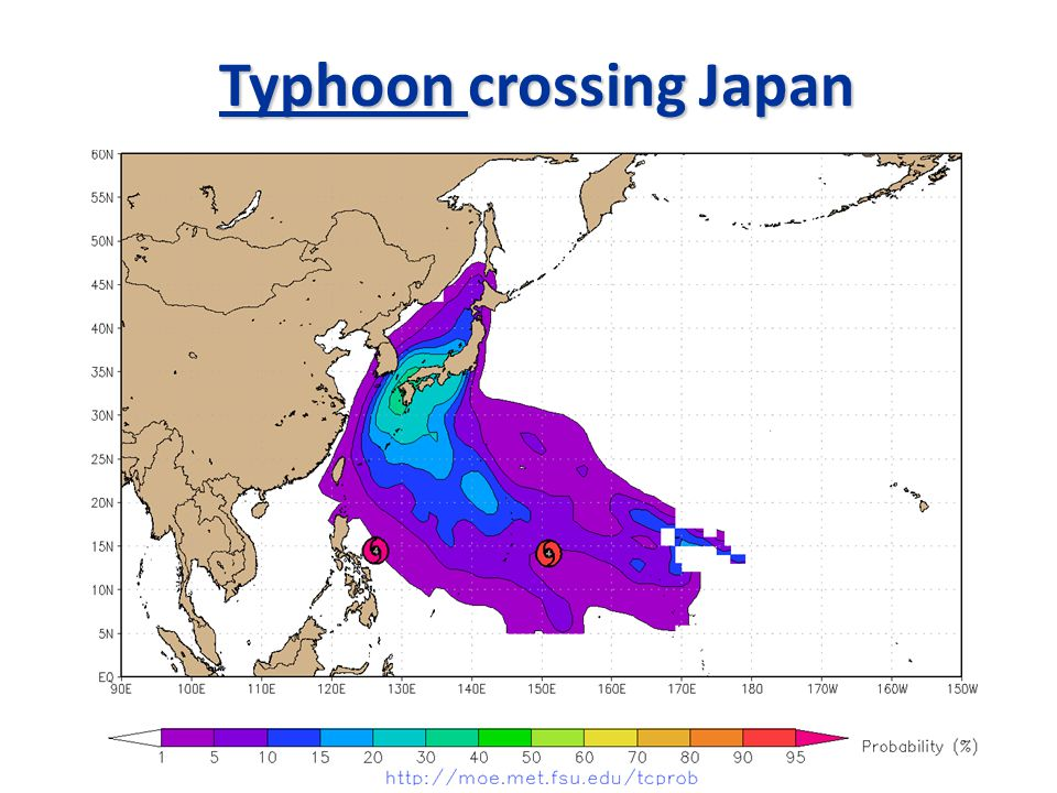 Typhoon crossing Japan