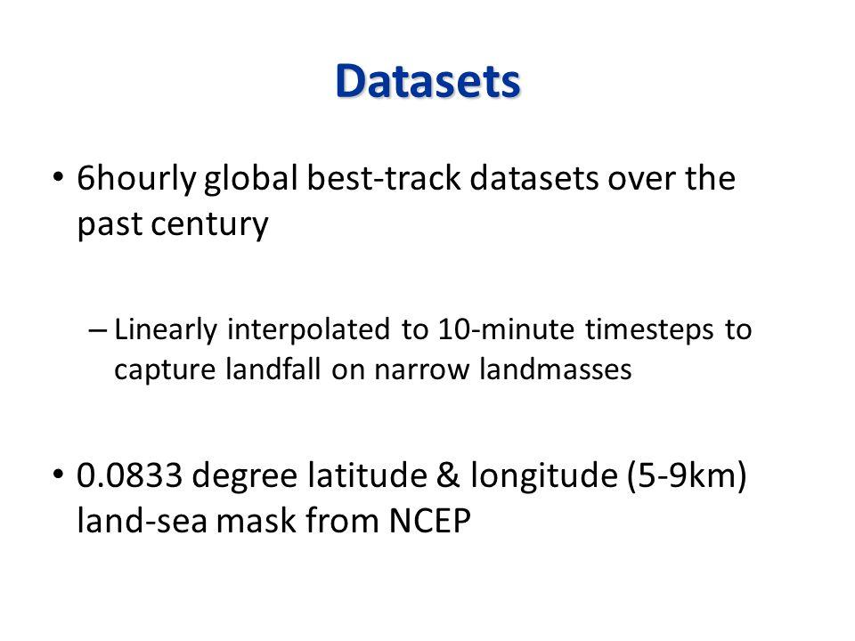 Method Define a landfall or land-crossing region (e.g.
