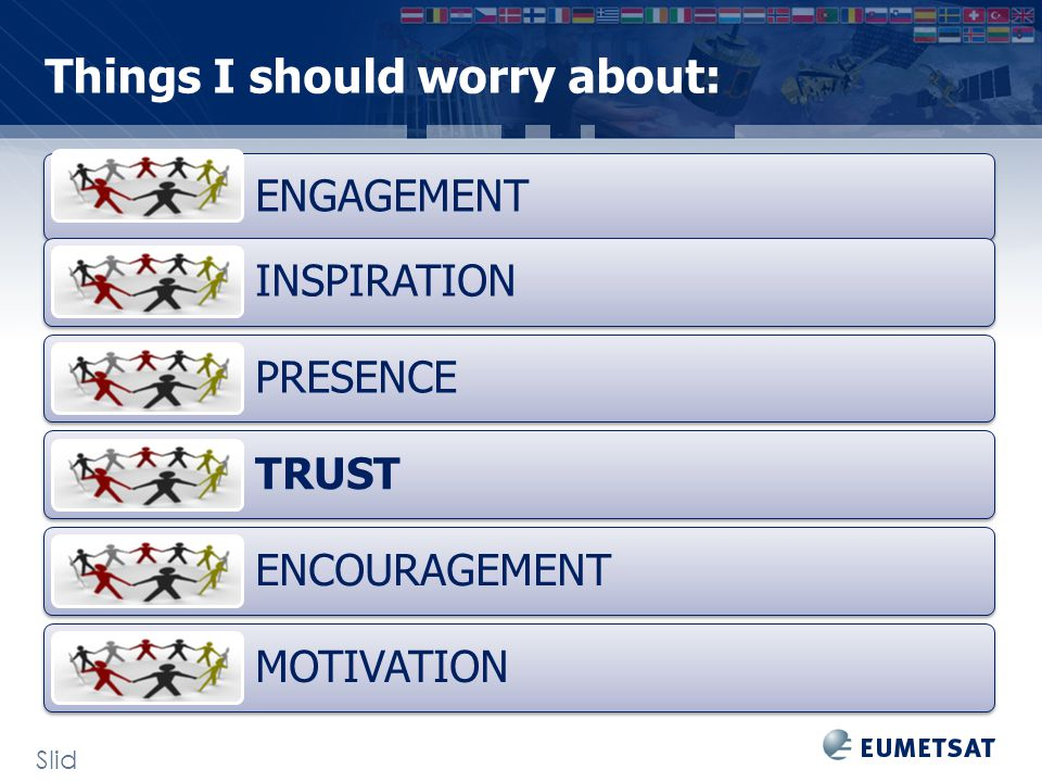 Things I should worry about: Slid e: 30 ENGAGEMENT INSPIRATION PRESENCE TRUST ENCOURAGEMENT MOTIVATION
