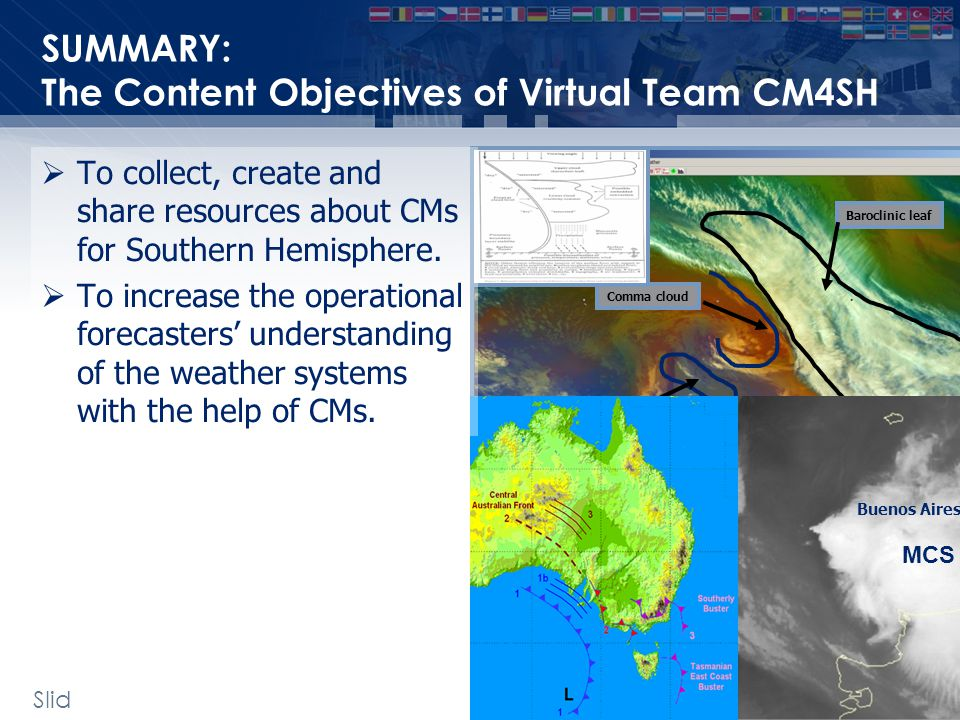 SUMMARY: The Content Objectives of Virtual Team CM4SH Slid e: 32 Vortex deformation cloud Baroclinic leaf Comma cloud MCS Buenos Aires  To collect, create and share resources about CMs for Southern Hemisphere.