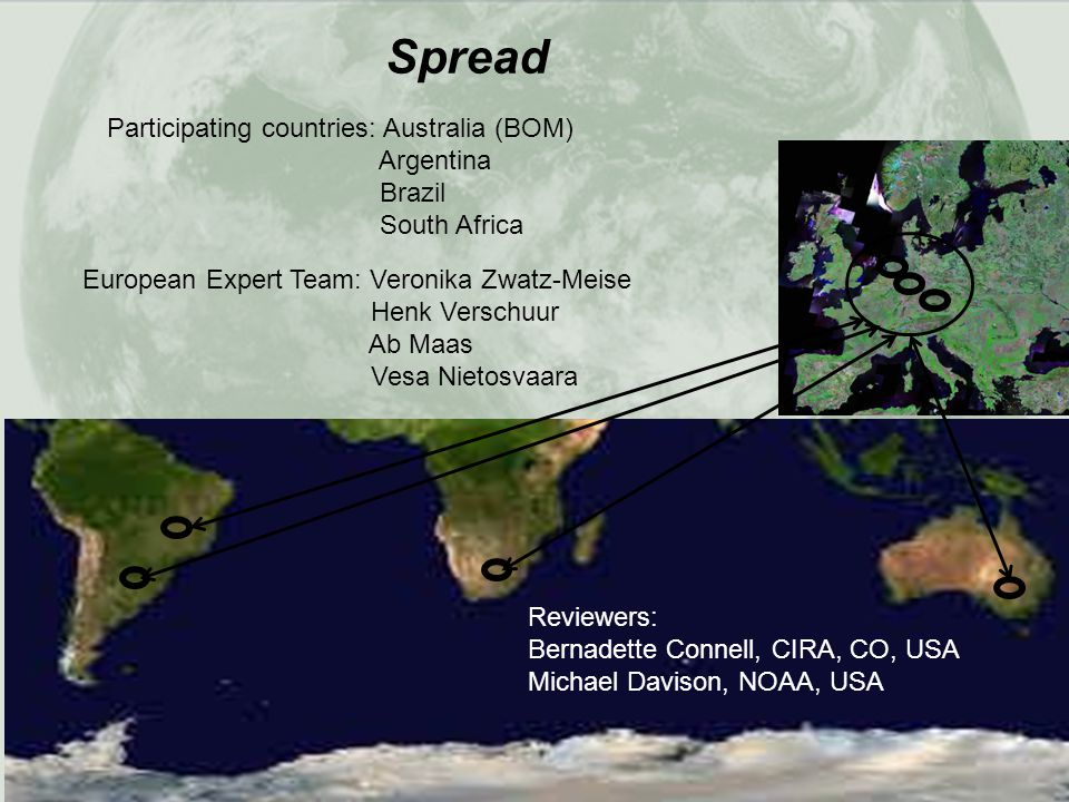 Participating countries: Australia (BOM) Argentina Brazil South Africa European Expert Team: Veronika Zwatz-Meise Henk Verschuur Ab Maas Vesa Nietosva
