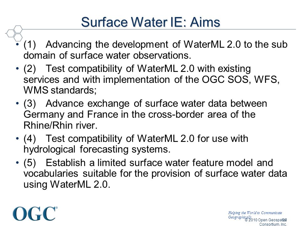 Helping the World to Communicate Geographically Surface Water IE: Aims (1)Advancing the development of WaterML 2.0 to the sub domain of surface water