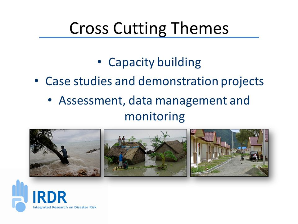 Cross Cutting Themes Capacity building Case studies and demonstration projects Assessment, data management and monitoring