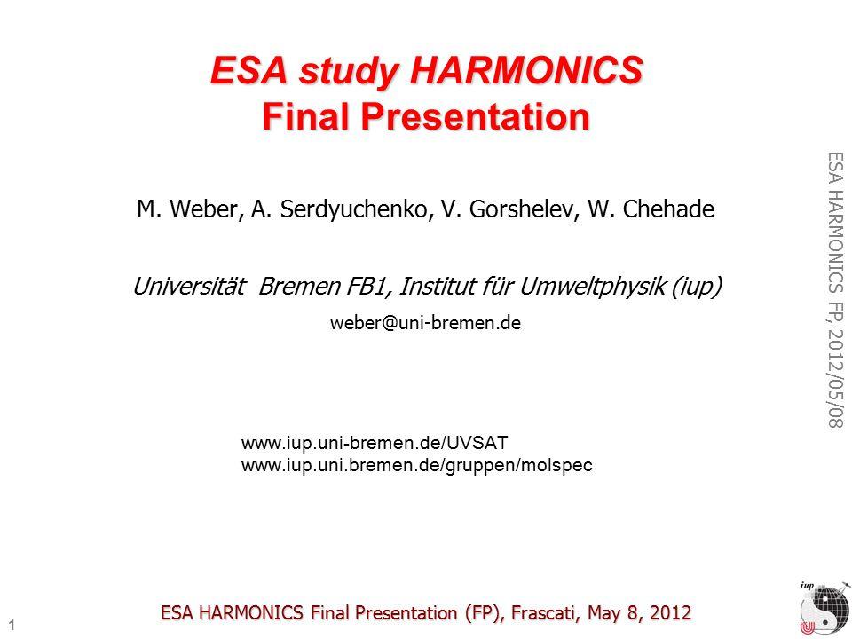 1 ESA HARMONICS FP, 2012/05/08 ESA study HARMONICS Final Presentation M.