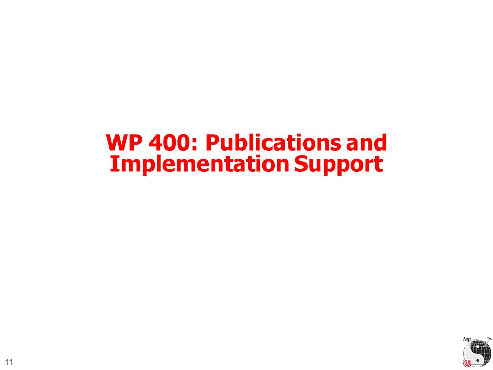 11 WP 400: Publications and Implementation Support