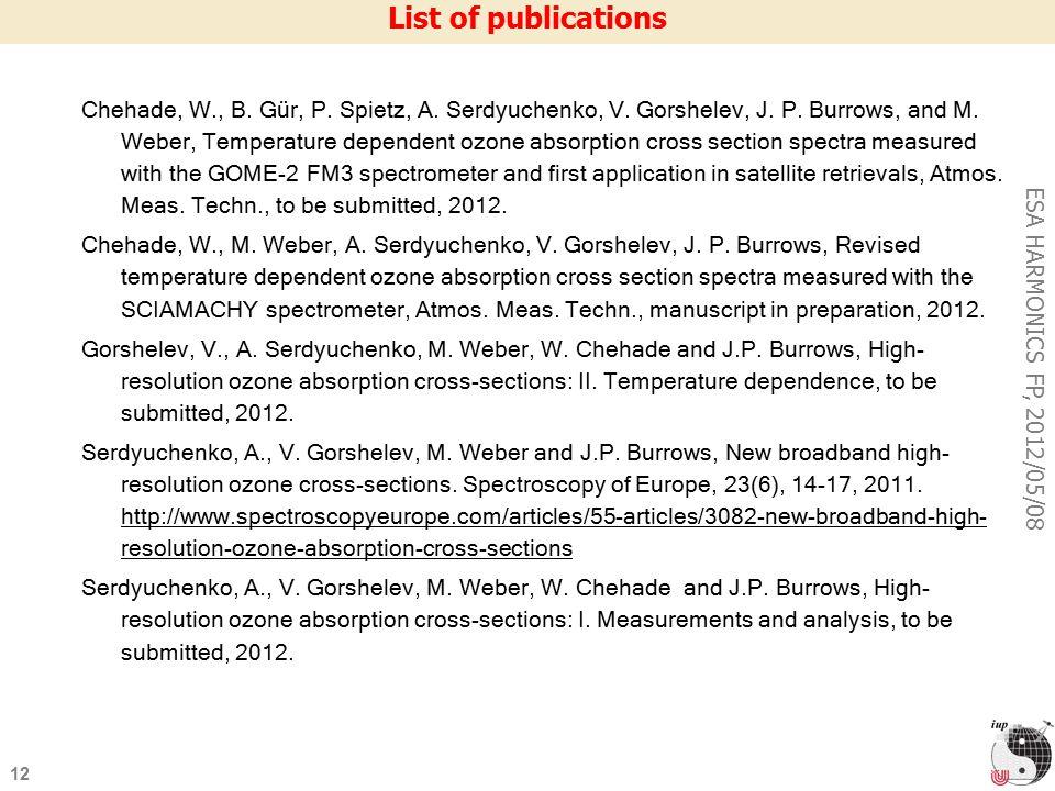 12 ESA HARMONICS FP, 2012/05/08 List of publications Chehade, W., B.
