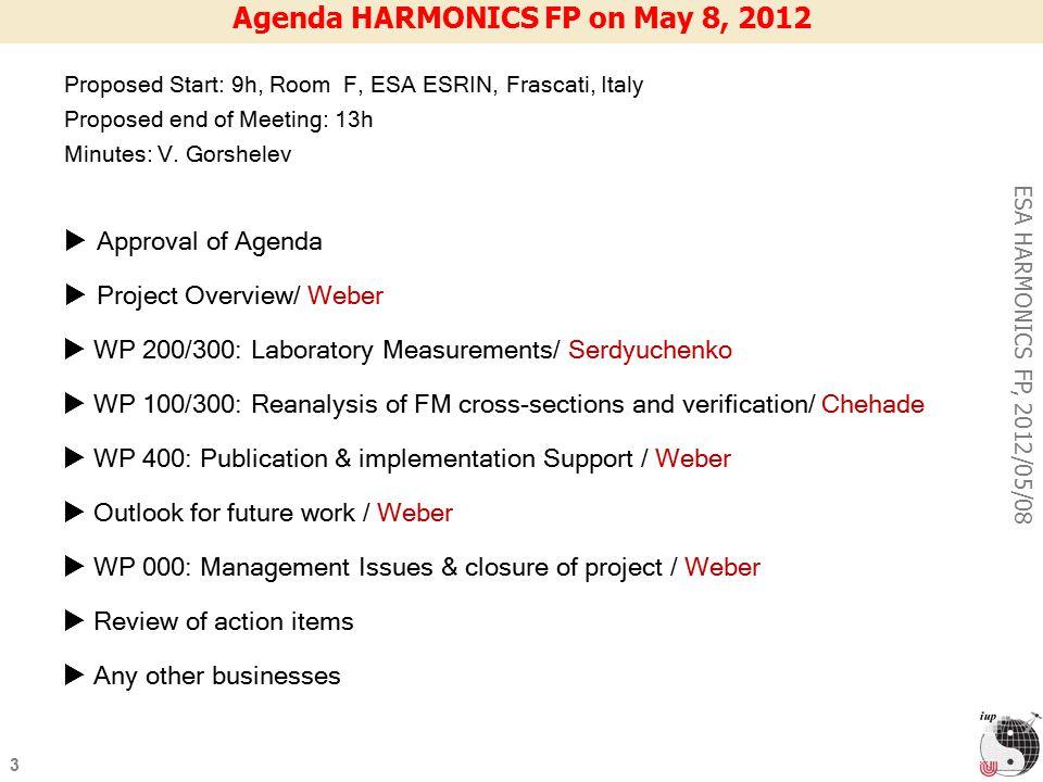 3 ESA HARMONICS FP, 2012/05/08 Agenda HARMONICS FP on May 8, 2012 Proposed Start: 9h, Room F, ESA ESRIN, Frascati, Italy Proposed end of Meeting: 13h Minutes: V.