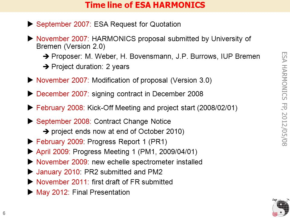 6 ESA HARMONICS FP, 2012/05/08 Time line of ESA HARMONICS  September 2007: ESA Request for Quotation  November 2007: HARMONICS proposal submitted by University of Bremen (Version 2.0)‏  Proposer: M.