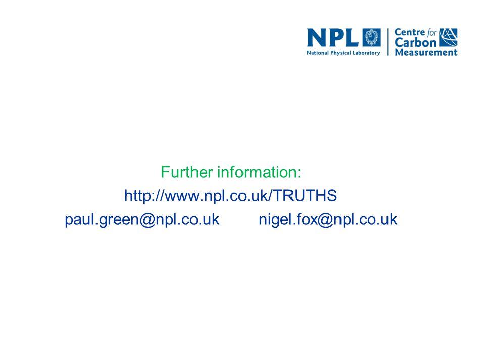 Further information: http://www.npl.co.uk/TRUTHS paul.green@npl.co.uk nigel.fox@npl.co.uk