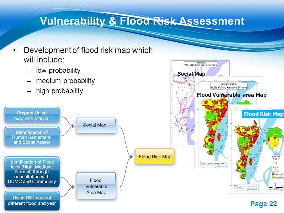 Free Powerpoint Templates Page 22 Vulnerability & Flood Risk Assessment Development of flood risk map which will include: –low probability –medium probability –high probability