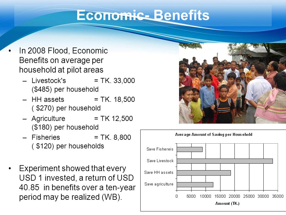 Free Powerpoint Templates Page 31 Economic- Benefits In 2008 Flood, Economic Benefits on average per household at pilot areas –Livestock's = TK. 33,00