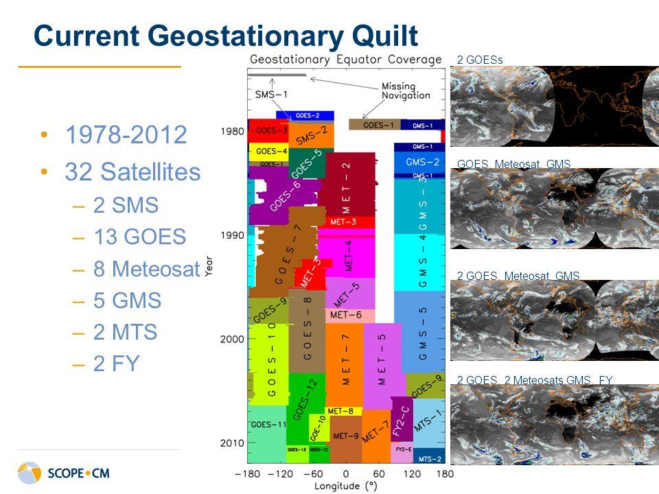 1978-2012 32 Satellites –2 SMS –13 GOES –8 Meteosat –5 GMS –2 MTS –2 FY Current Geostationary Quilt 2 GOESs GOES, Meteosat, GMS 2 GOES, Meteosat, GMS 2 GOES, 2 Meteosats,GMS, FY