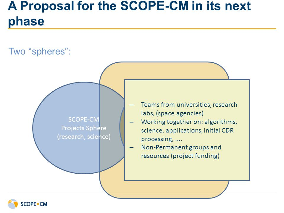 "A Proposal for the SCOPE-CM in its next phase Two ""spheres"": SCOPE-CM Sustained Structures SSS SCOPE-CM Projects Sphere (research, science) – Teams fr"