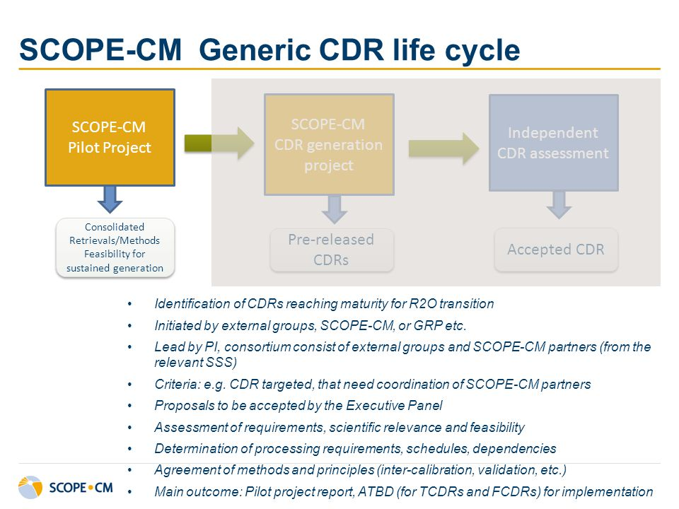 SCOPE-CM Generic CDR life cycle SCOPE-CM Pilot Project SCOPE-CM CDR generation project Independent CDR assessment Consolidated Retrievals/Methods Feas