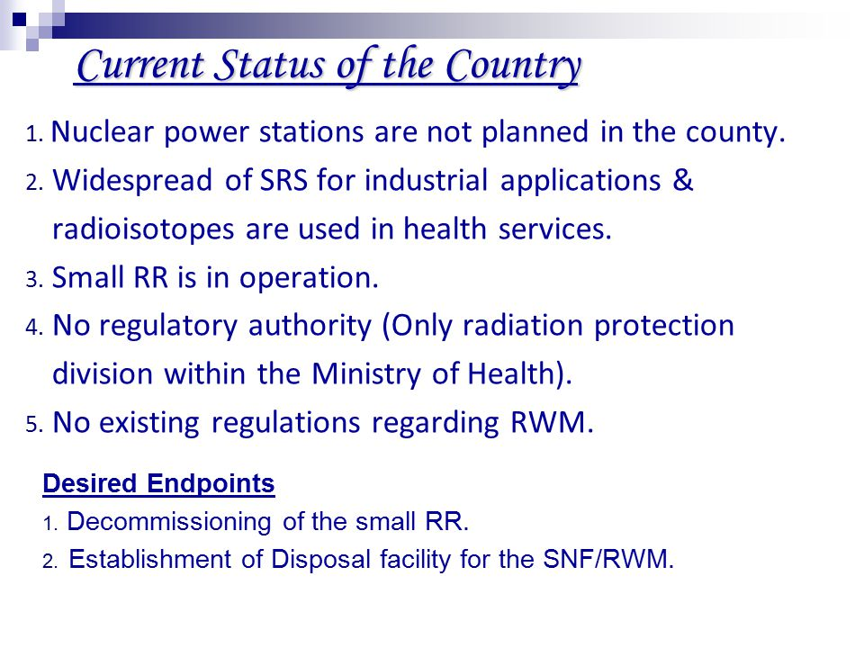 Current Status of the Country 1. Nuclear power stations are not planned in the county.