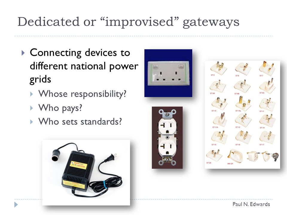 Dedicated or improvised gateways  Connecting devices to different national power grids  Whose responsibility.