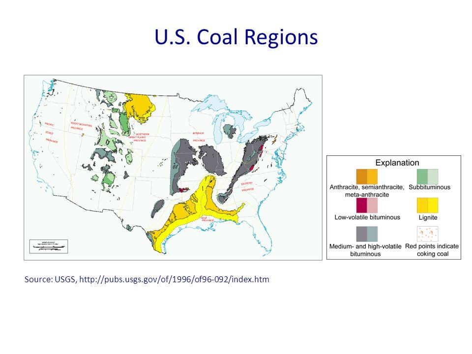 U.S. Coal Regions Source: USGS, http://pubs.usgs.gov/of/1996/of96-092/index.htm