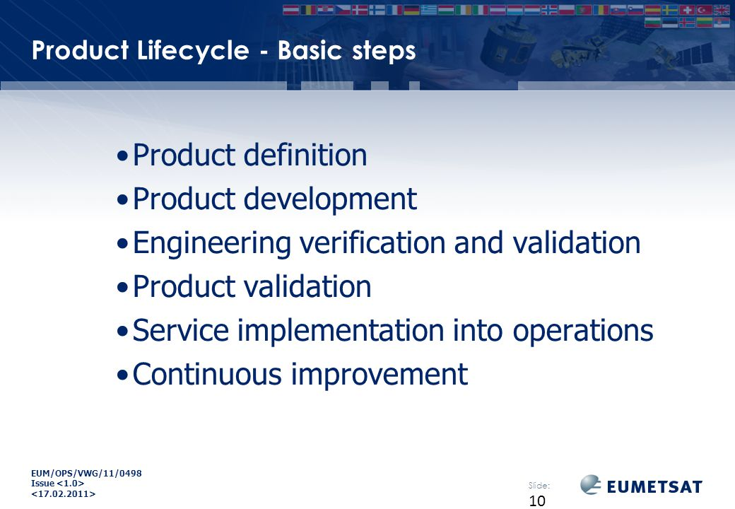 EUM/OPS/VWG/11/0498 Issue Product Lifecycle - Basic steps Product definition Product development Engineering verification and validation Product validation Service implementation into operations Continuous improvement Slide: 10