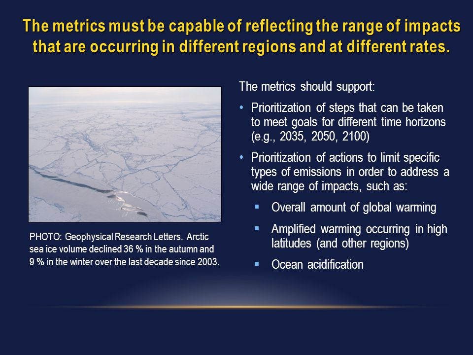 The metrics must be capable of reflecting the range of impacts that are occurring in different regions and at different rates. The metrics should supp