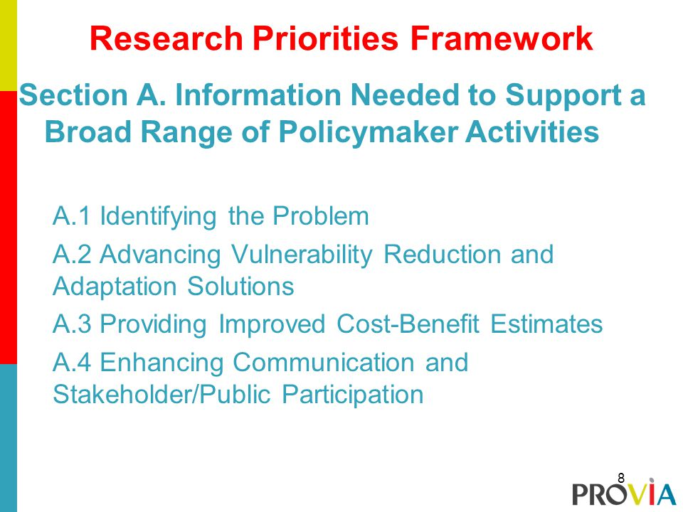 Section A. Information Needed to Support a Broad Range of Policymaker Activities A.1 Identifying the Problem A.2 Advancing Vulnerability Reduction and