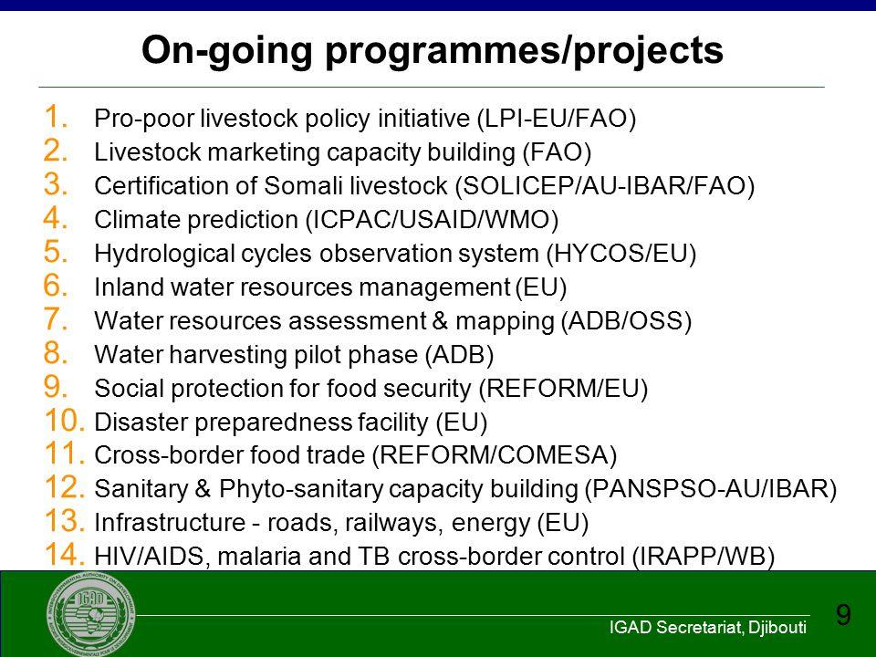 IGAD Secretariat, Djibouti 10 Proposed programmes/projects 1.