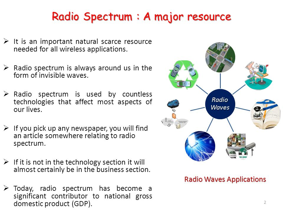 Radio Spectrum : A major resource  It is an important natural scarce resource needed for all wireless applications.