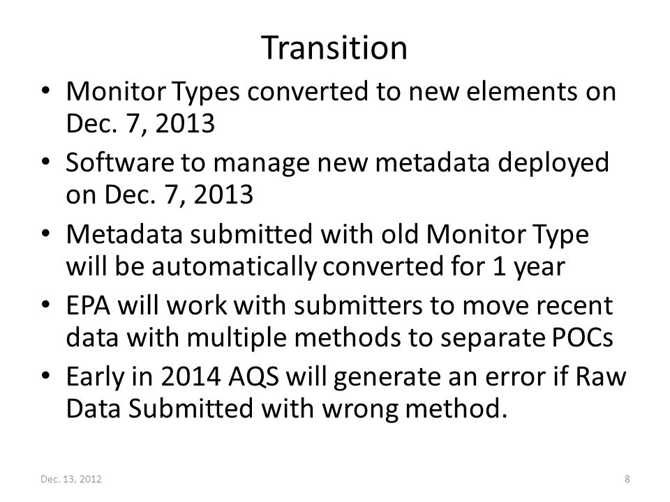 Transition Monitor Types converted to new elements on Dec.