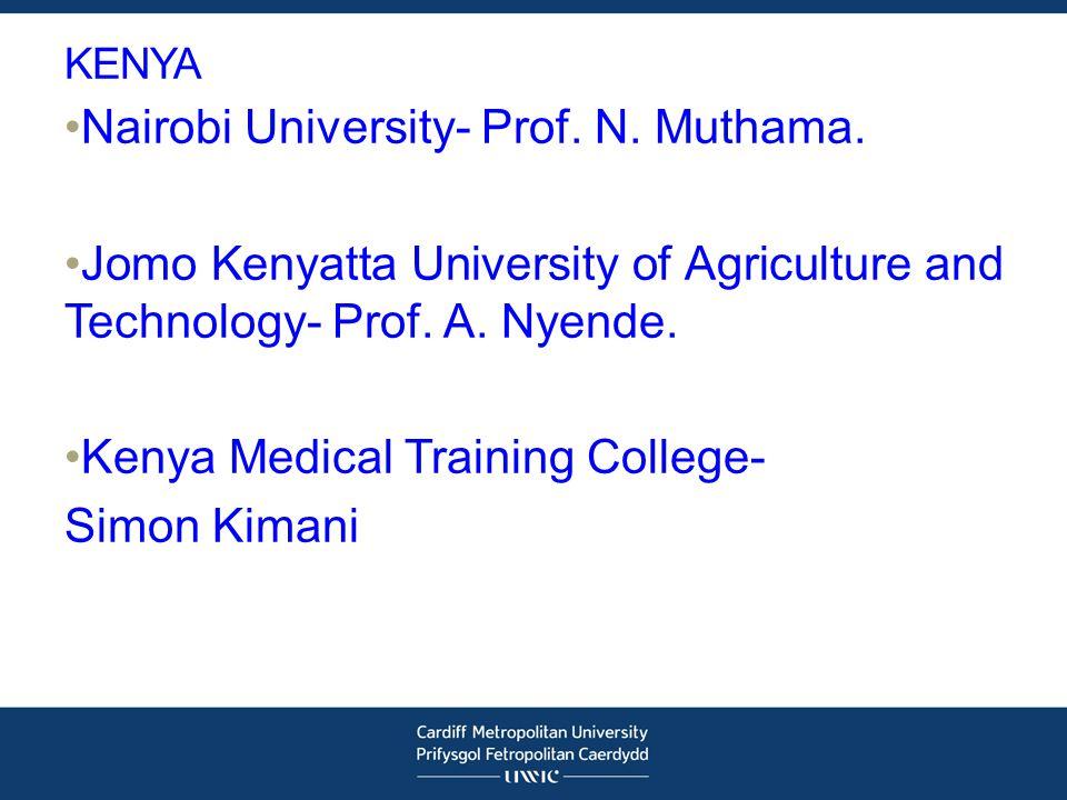 KENYA Nairobi University- Prof. N. Muthama.