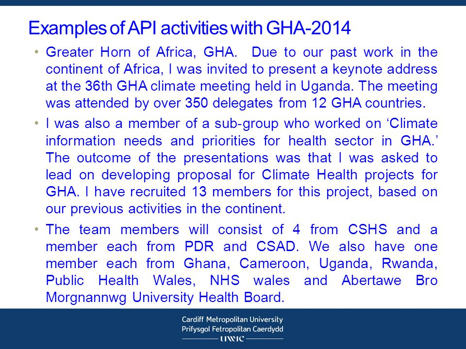 Examples of API activities with GHA-2014 Greater Horn of Africa, GHA.