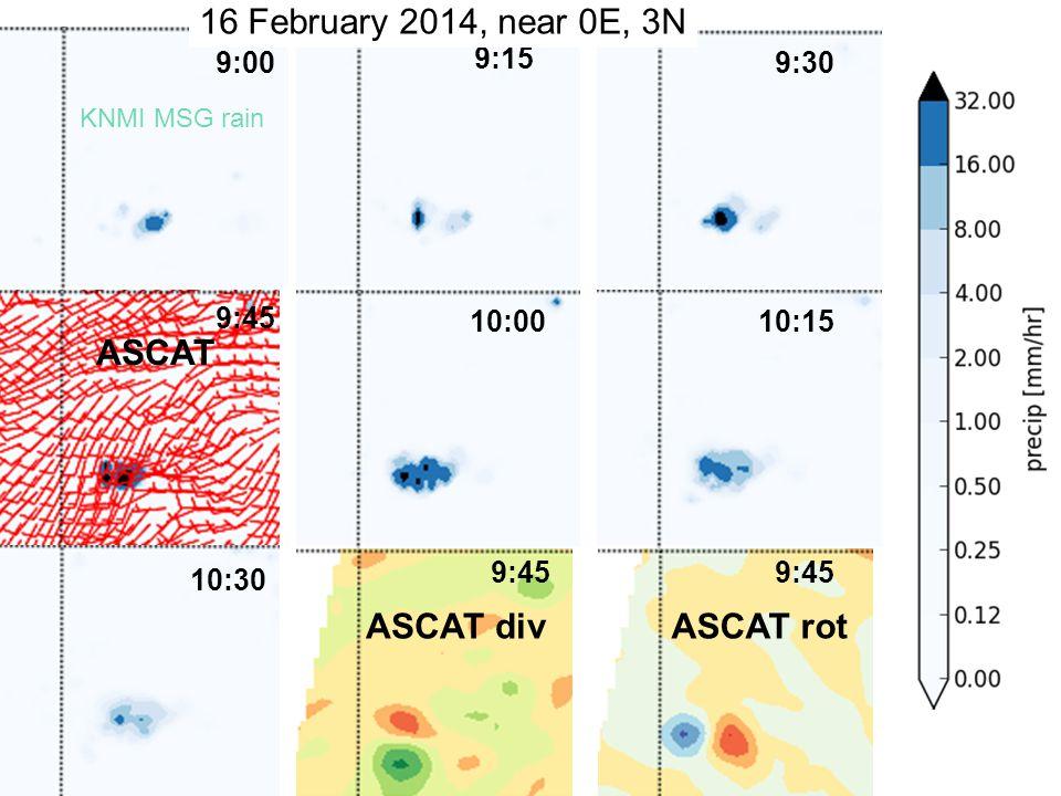 © NASA 9:45 9:15 10:30 10:15 9:45 10:00 9:009:30 16 February 2014, near 0E, 3N KNMI MSG rain ASCAT ASCAT divASCAT rot