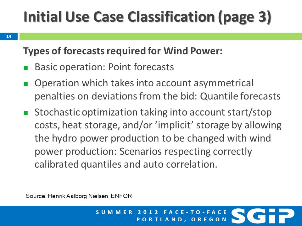 SUMMER 2012 FACE-TO-FACE PORTLAND, OREGON Initial Use Case Classification (page 3) Types of forecasts required for Wind Power: Basic operation: Point forecasts Operation which takes into account asymmetrical penalties on deviations from the bid: Quantile forecasts Stochastic optimization taking into account start/stop costs, heat storage, and/or 'implicit' storage by allowing the hydro power production to be changed with wind power production: Scenarios respecting correctly calibrated quantiles and auto correlation.