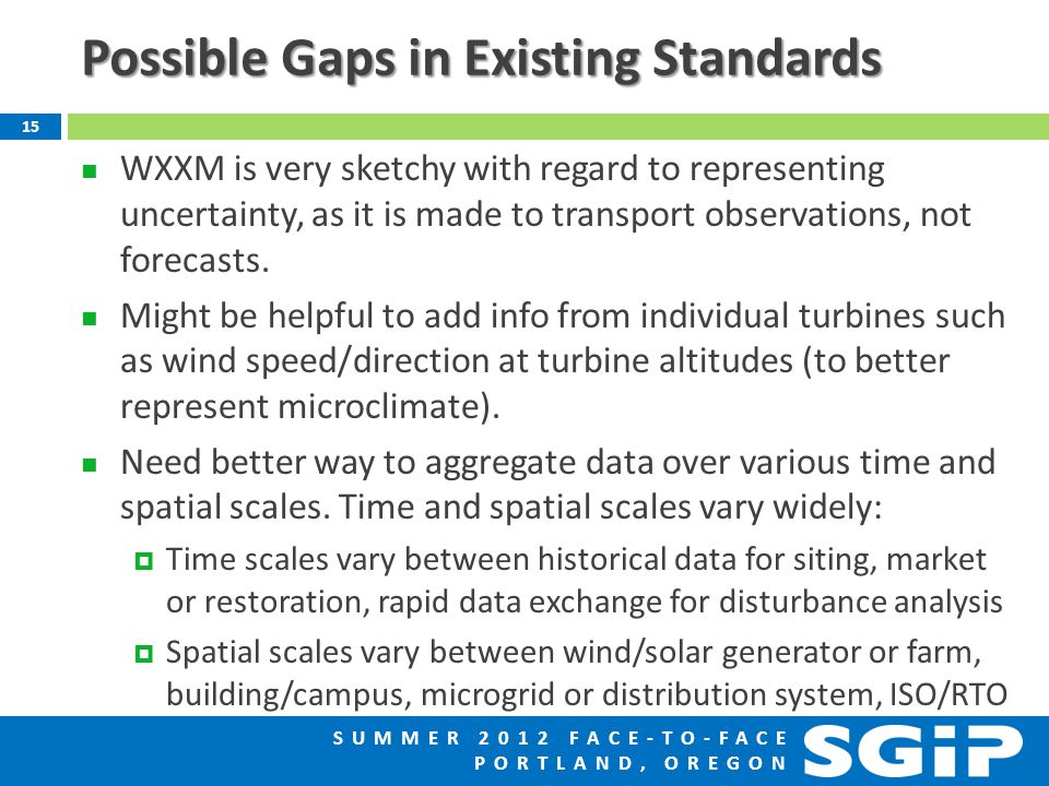 SUMMER 2012 FACE-TO-FACE PORTLAND, OREGON Possible Gaps in Existing Standards WXXM is very sketchy with regard to representing uncertainty, as it is made to transport observations, not forecasts.