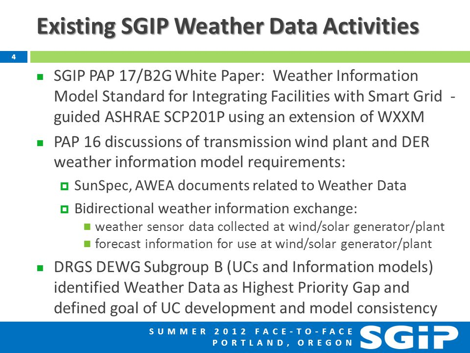 SUMMER 2012 FACE-TO-FACE PORTLAND, OREGON Existing SGIP Weather Data Activities SGIP PAP 17/B2G White Paper: Weather Information Model Standard for Integrating Facilities with Smart Grid - guided ASHRAE SCP201P using an extension of WXXM PAP 16 discussions of transmission wind plant and DER weather information model requirements:  SunSpec, AWEA documents related to Weather Data  Bidirectional weather information exchange: weather sensor data collected at wind/solar generator/plant forecast information for use at wind/solar generator/plant DRGS DEWG Subgroup B (UCs and Information models) identified Weather Data as Highest Priority Gap and defined goal of UC development and model consistency 4