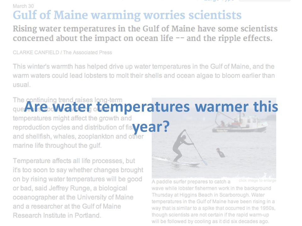 Are water temperatures warmer this year?