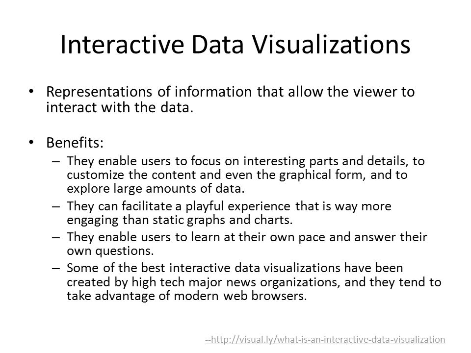 Interactive Data Visualizations Representations of information that allow the viewer to interact with the data.