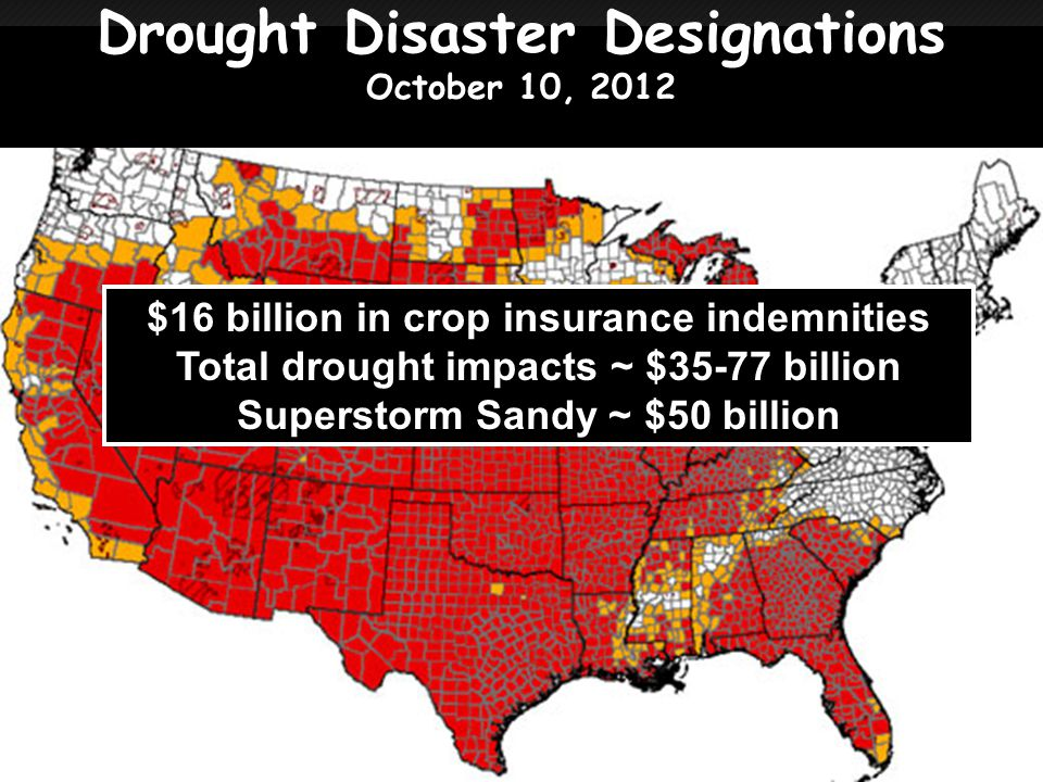 Drought Disaster Designations October 10, 2012 $16 billion in crop insurance indemnities Total drought impacts ~ $35-77 billion Superstorm Sandy ~ $50