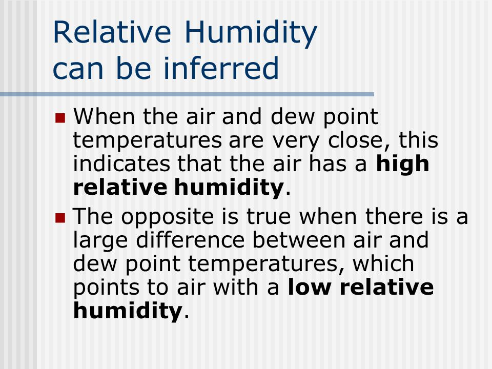 Dew point Dew Point is lower left corner When the air temperature and the dew point are the same the air is saturated Relative humidity can be inferre
