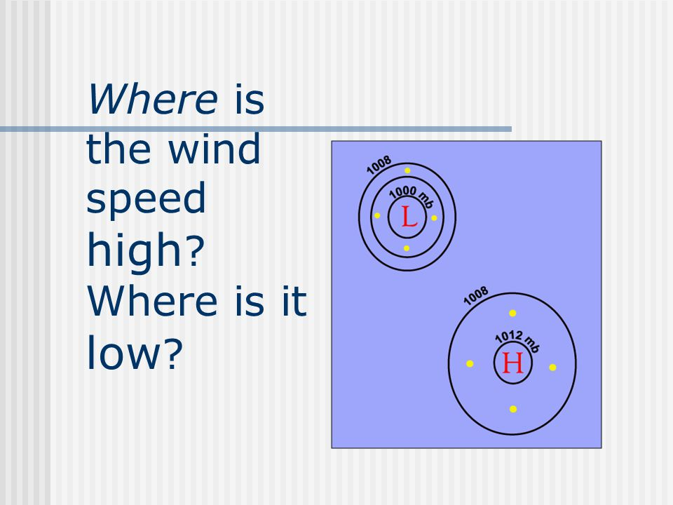 The closer contour lines are to one another, the higher the wind speed.