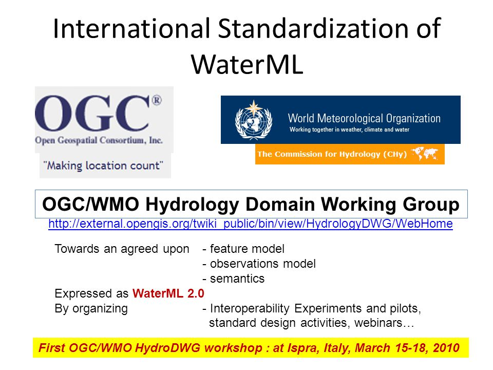 International Standardization of WaterML 5 OGC/WMO Hydrology Domain Working Group http://external.opengis.org/twiki_public/bin/view/HydrologyDWG/WebHome Towards an agreed upon- feature model - observations model - semantics Expressed as WaterML 2.0 By organizing- Interoperability Experiments and pilots, standard design activities, webinars… First OGC/WMO HydroDWG workshop : at Ispra, Italy, March 15-18, 2010