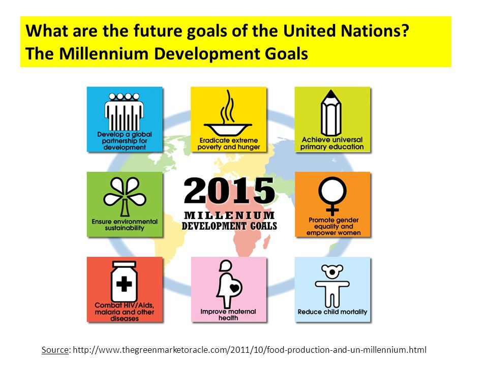 What are the future goals of the United Nations? The Millennium Development Goals Source: http://www.thegreenmarketoracle.com/2011/10/food-production-