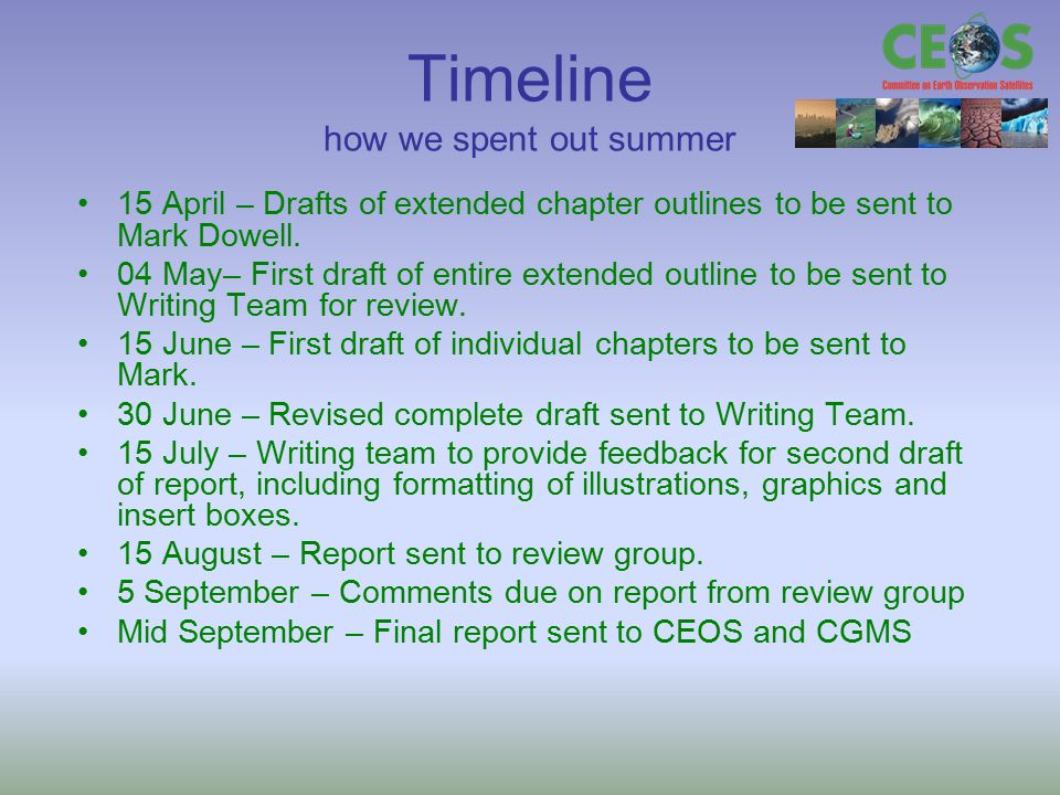 Timeline how we spent out summer 15 April – Drafts of extended chapter outlines to be sent to Mark Dowell. 04 May– First draft of entire extended outl