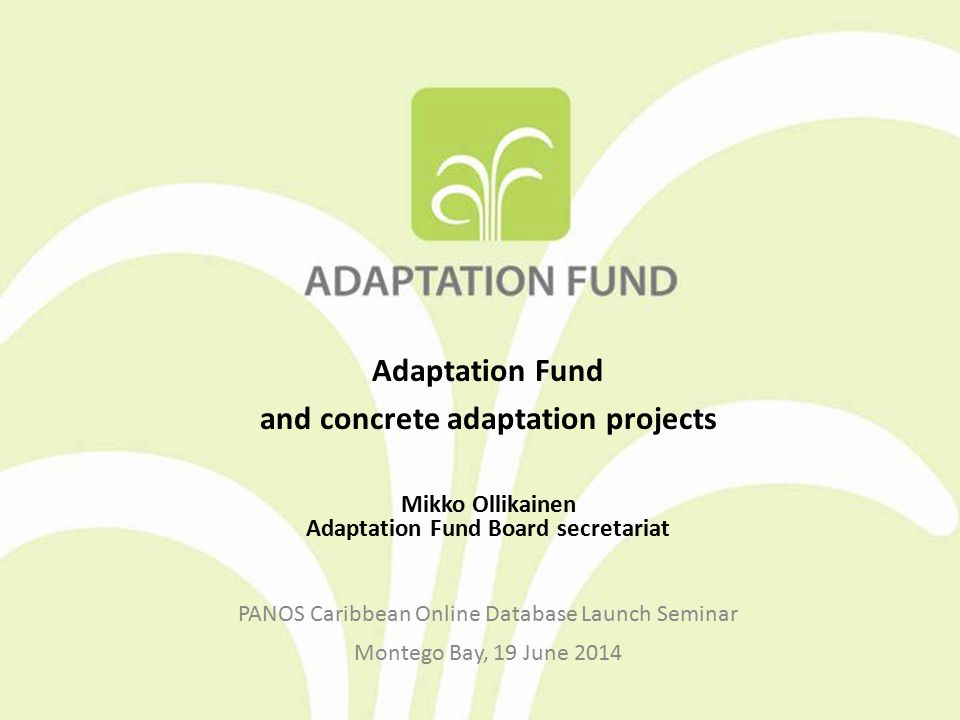 Outline of Presentation Overview of the Adaptation Fund Accreditation and project proposal processes Progress and achievements of the Adaptation Fund Lessons learned for the future of climate finance architecture