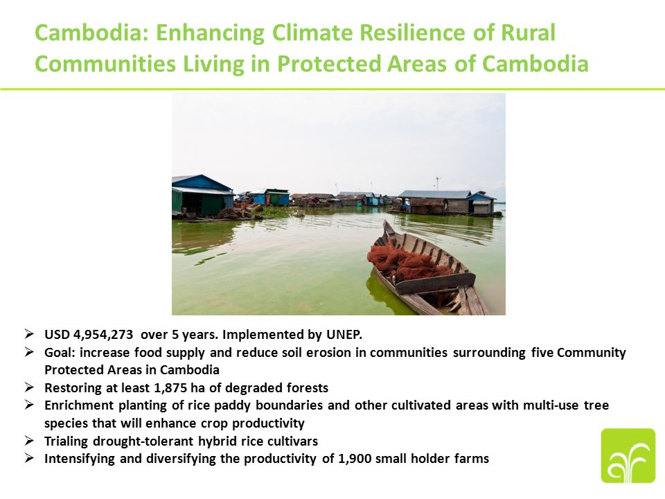 Cambodia: Enhancing Climate Resilience of Rural Communities Living in Protected Areas of Cambodia  USD 4,954,273 over 5 years.