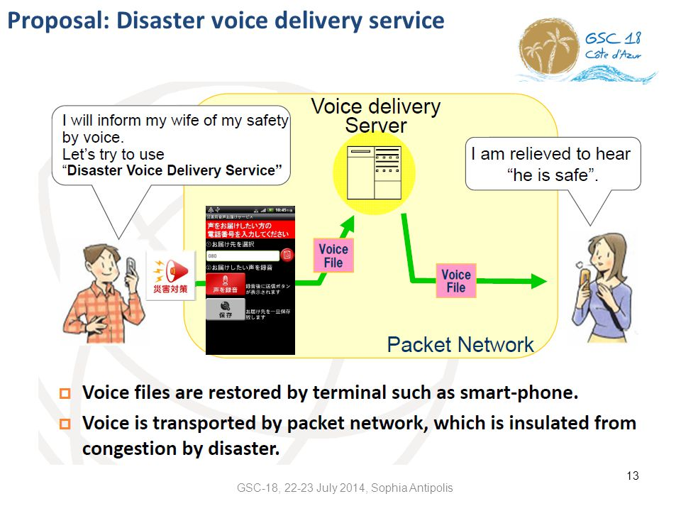 Proposal: Disaster voice delivery service 13 GSC-18, 22-23 July 2014, Sophia Antipolis