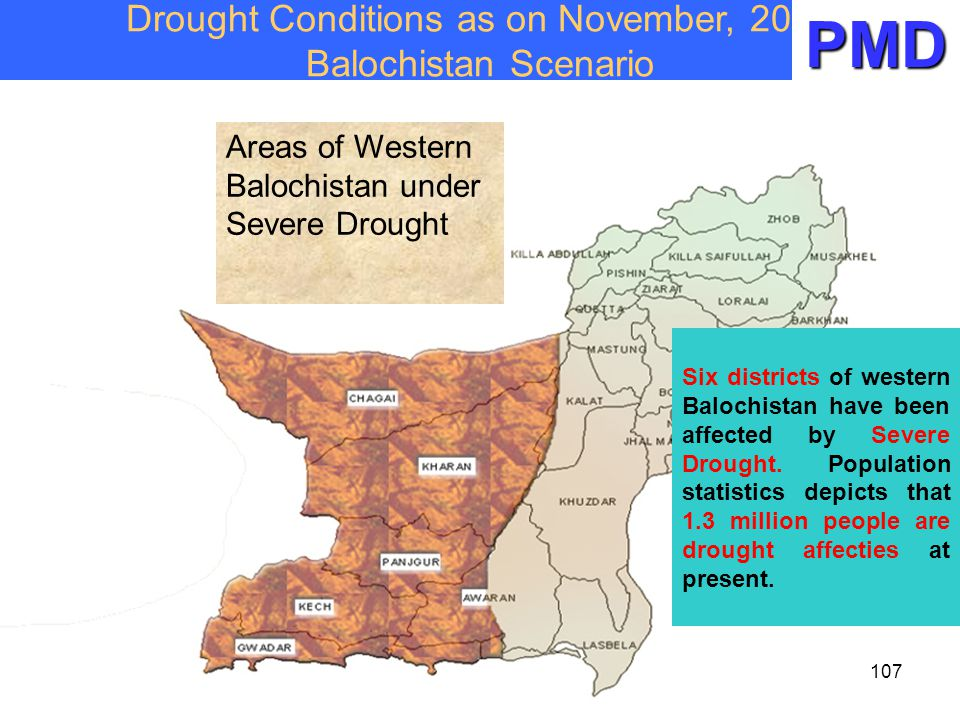 Drought Conditions as on November, 2004 Balochistan Scenario Six districts of western Balochistan have been affected by Severe Drought. Population sta