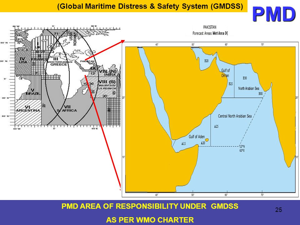 PMD AREA OF RESPONSIBILITY UNDER GMDSS AS PER WMO CHARTER (Global Maritime Distress & Safety System (GMDSS)PMD 25
