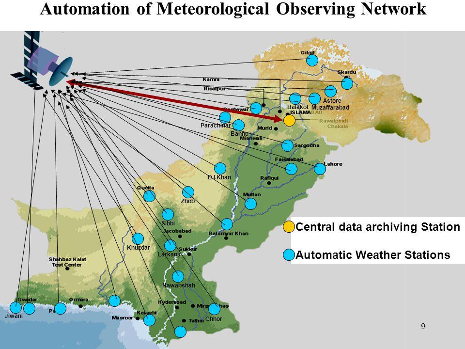 Khuzdar Zhob Astore Chhor Jiwani Larkana Nawabshah Sibbi D.I.Khan Bannu Parachinar Balakot Muzaffarabad Automation of Meteorological Observing Network