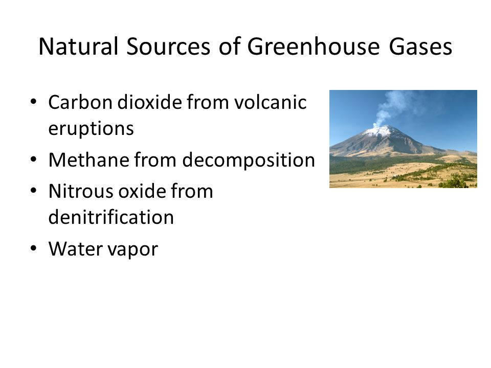 Natural Sources of Greenhouse Gases Carbon dioxide from volcanic eruptions Methane from decomposition Nitrous oxide from denitrification Water vapor