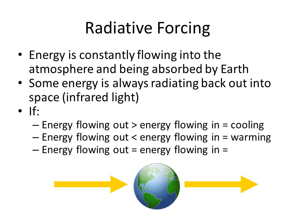 Radiative Forcing Energy is constantly flowing into the atmosphere and being absorbed by Earth Some energy is always radiating back out into space (in