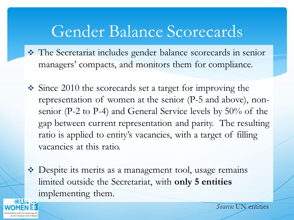 Gender Balance Scorecards  The Secretariat includes gender balance scorecards in senior managers' compacts, and monitors them for compliance.